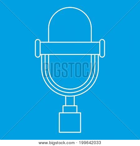 Vintage microphone icon blue outline style isolated vector illustration. Thin line sign