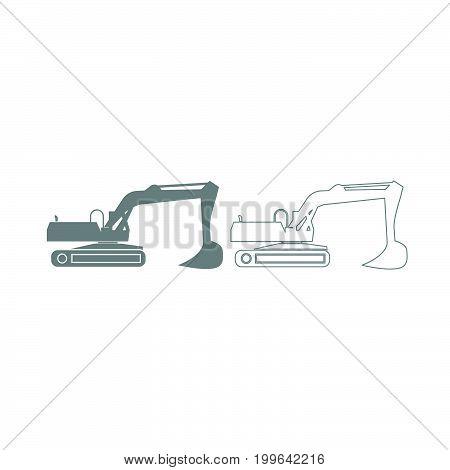 Excavator Grey Set Icon .