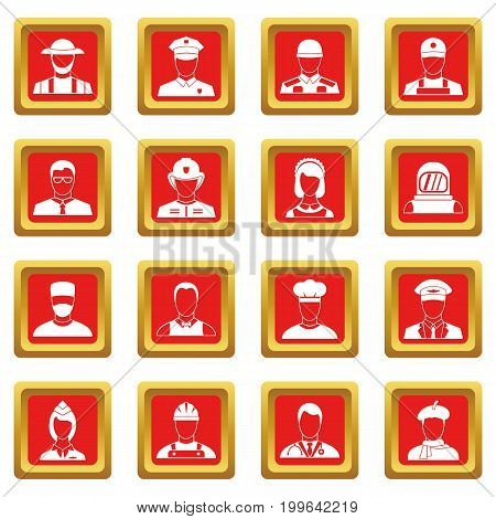 Professions icons set in red color isolated vector illustration for web and any design