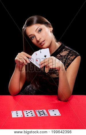 Young Woman Playing In The Gambling