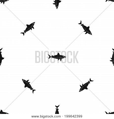 Shark fish pattern repeat seamless in black color for any design. Vector geometric illustration