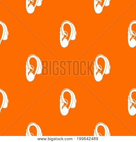 Hearing aid pattern repeat seamless in orange color for any design. Vector geometric illustration