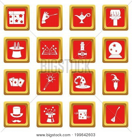 Magic icons set in red color isolated vector illustration for web and any design