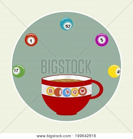 Red Decorated Coffee Cup with Bingo Balls Over Vintage Green Border