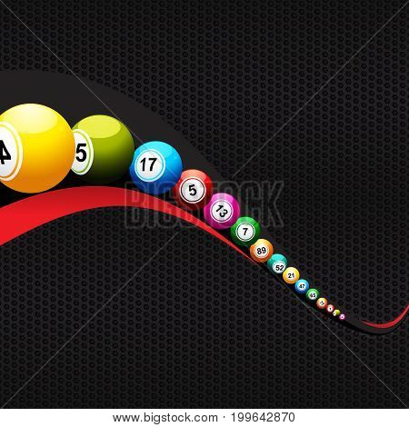 3D Illustration of Bingo Lottery Balls Over Black and Red Wave On Black Metallic Honeycomb Background