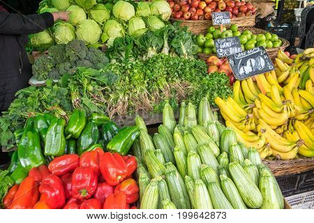 Vegetables for sale at a market in Valparaiso, Chile