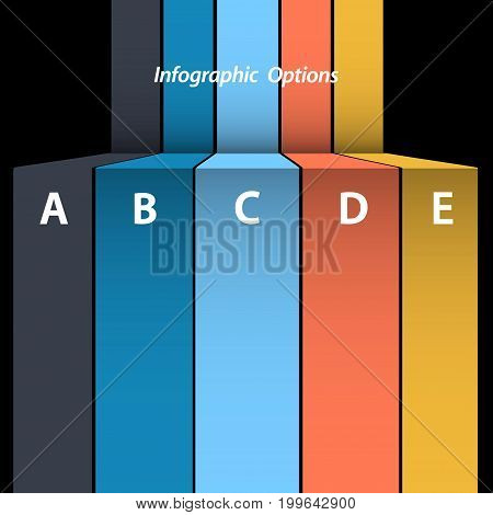 3D Illustration of Multicoloured Paper Stripes Blank Infographic Over Black Background