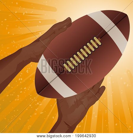 Hands Catching American Football Rugby Ball with Details