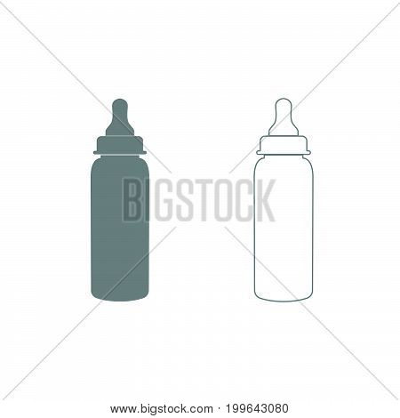 Baby Bottle Symbol Grey Set Icon .