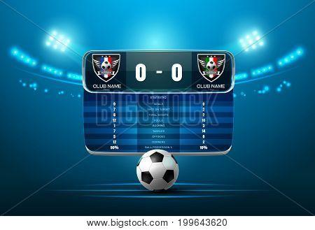 soccer football with scoreboard and spotlight vector illustration