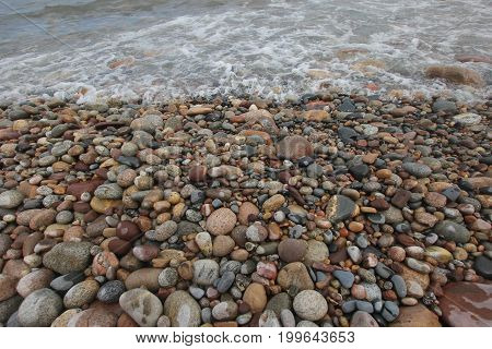 Rocks and stones on a Lake Superior.  Pictured Rocks National Lakeshore, Upper Peninsula of Michigan