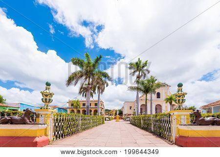 View to the city's main square Trinidad Sancti Spiritus Cuba. Copy space for text.