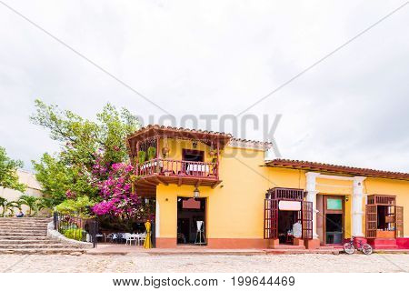 View of the colorful building Trinidad Sancti Spiritus Cuba. Сopy space for text