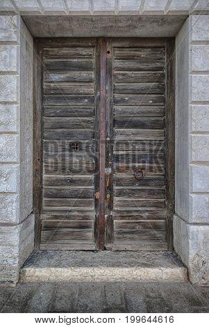 Old antique wooden door vintage portal doorway