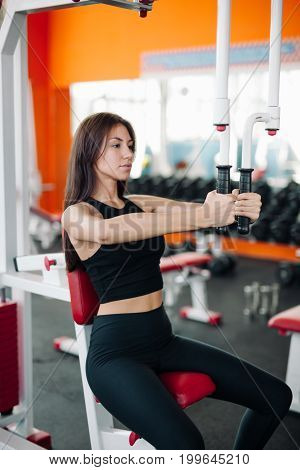 Cable Crossover Fly Pulley Flies Woman Workout At Gym