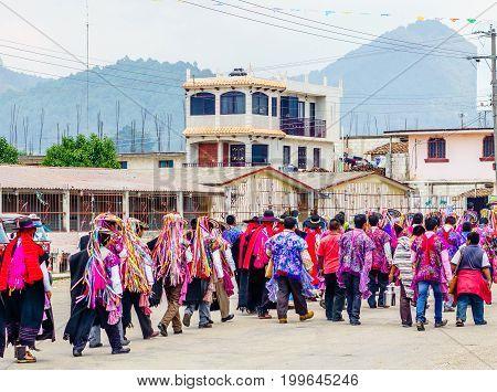 View on Traditional Maya Procession in Zinacantan by San Cristobal de las Casas in Mexico