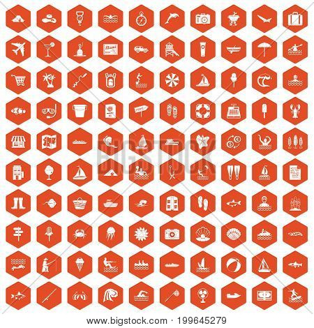 100 water recreation icons set in orange hexagon isolated vector illustration
