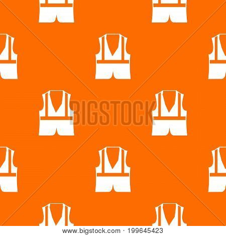 Vest pattern repeat seamless in orange color for any design. Vector geometric illustration