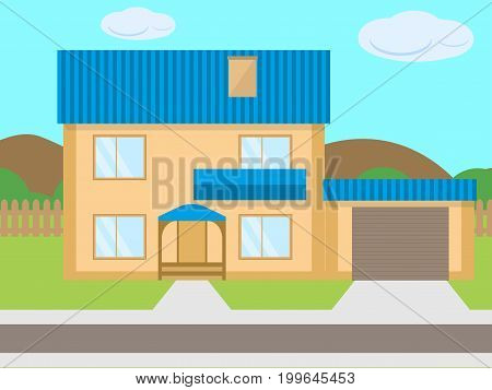 Vector illustration of a cartoon two-story house with a garage on the green lawn. The concept of mortgage on real estate, rental of property. Sale of house. Flat style.