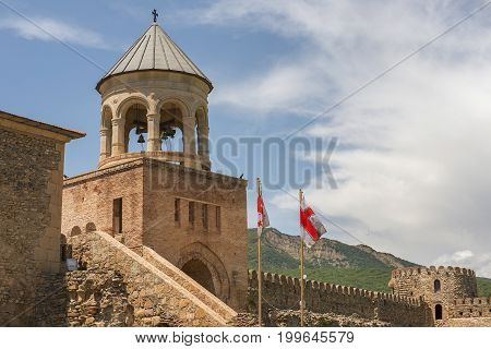 bell-tower of Svetitskhoveli Cathedral (Cathedral of the Living Pillar) is Georgian Orthodox cathedral located in the historical town of Mtskheta, Georgia