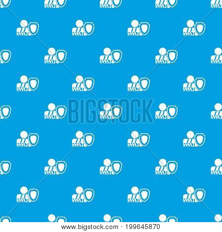 Broken arm and safety shield pattern repeat seamless in blue color for any design. Vector geometric illustration