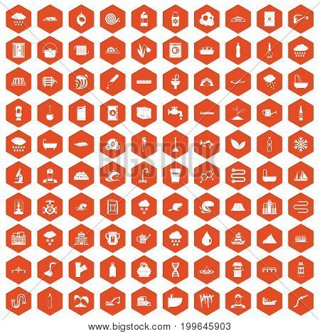 100 water supply icons set in orange hexagon isolated vector illustration