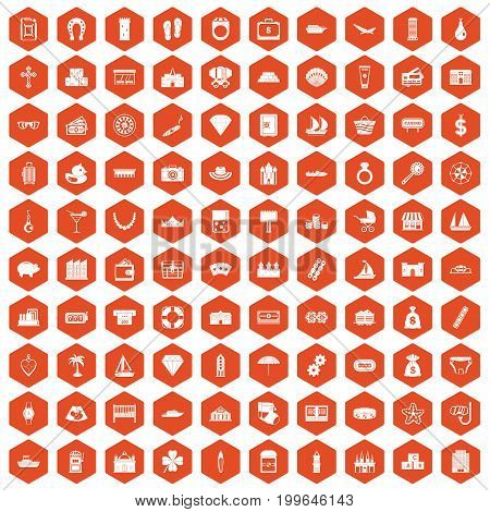 100 wealth icons set in orange hexagon isolated vector illustration