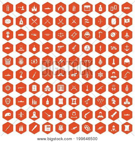 100 weapons icons set in orange hexagon isolated vector illustration
