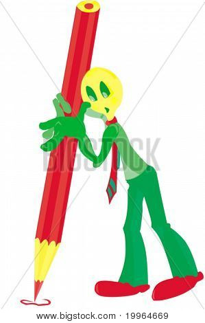 Green man and pencil