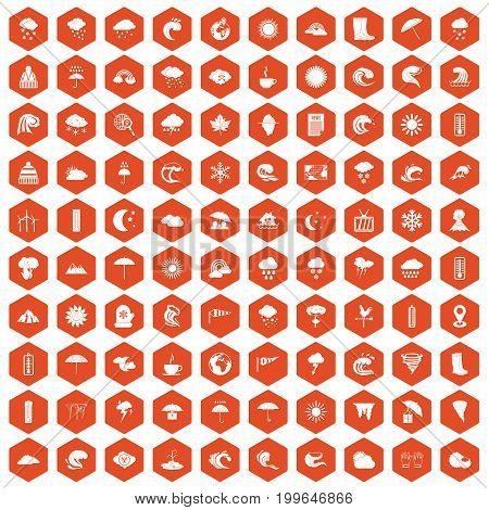 100 weather icons set in orange hexagon isolated vector illustration