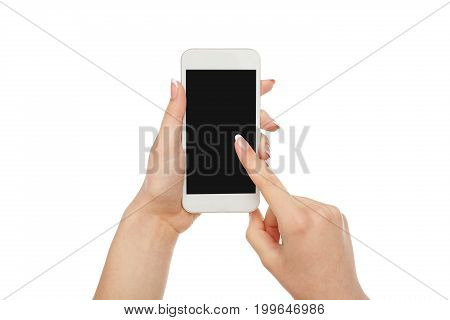 Woman pointing on mobile phone blank screen isolated on white background, close-up, cutout, copy space on the screen