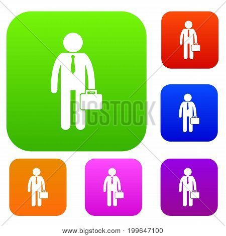 Businessman standing with his briefcase set icon in different colors isolated vector illustration. Premium collection