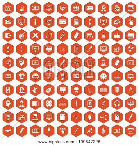 100 webdesign icons set in orange hexagon isolated vector illustration