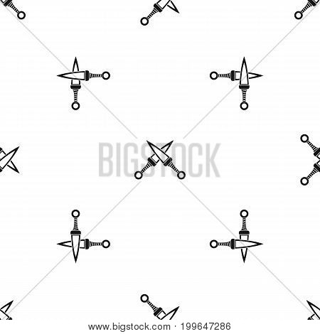 Crossed japanese daggers pattern repeat seamless in black color for any design. Vector geometric illustration