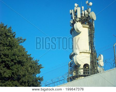 General antenna of mobiles in the park