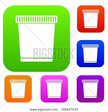 Trash can set icon in different colors isolated vector illustration. Premium collection