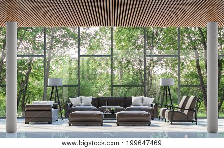 Modern living room interior with garden view 3d rendering image.There are white floorwood lattice ceiling and large window overlooking the surrounding garden and nature