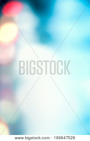 Abstract Blurred blue city lights background scene with soft bokeh art image