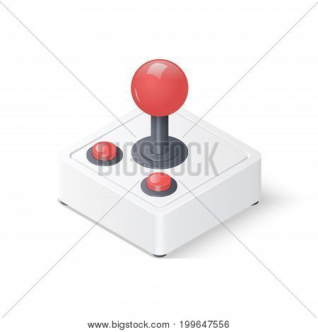 Retro joystick gamepad isolated on white background. Video game controller symbol. Isometric vector illustration