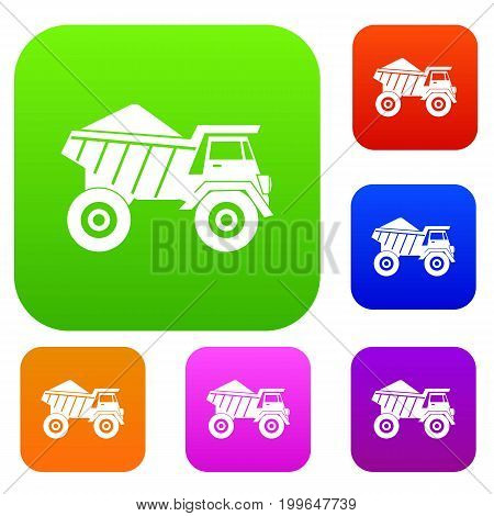 Dump truck with sand set icon in different colors isolated vector illustration. Premium collection