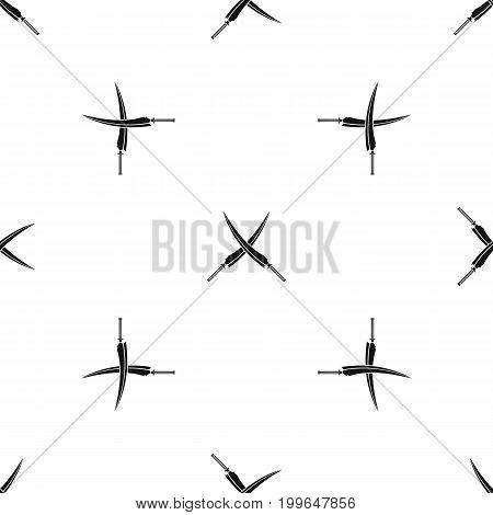Samurai swords pattern repeat seamless in black color for any design. Vector geometric illustration