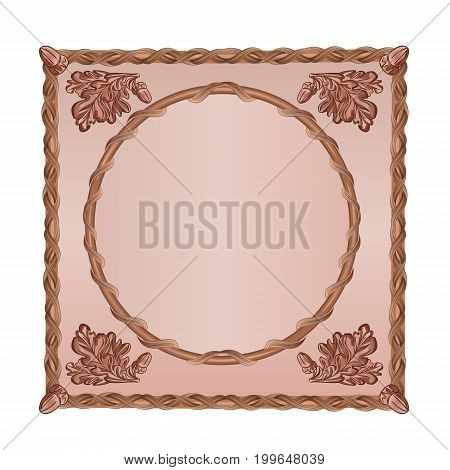 Square frame Oak leaves and acorns woodcarving vintage vector hunting theme illustration editable hand draw