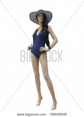 Full-length female mannequin wearing fashionable bathing suit isolated on white background. No release required. No brand names or copyright objects.