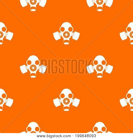 Black gas mask pattern repeat seamless in orange color for any design. Vector geometric illustration