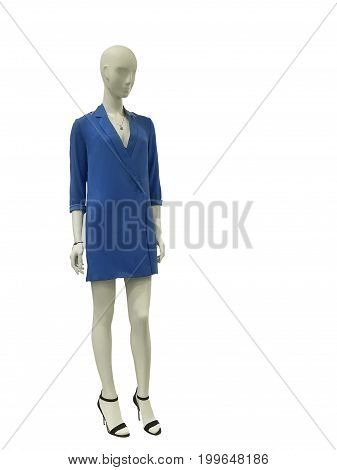Full-length female mannequin dressed in casual clothes isolated on white background. No brand names or copyright objects.