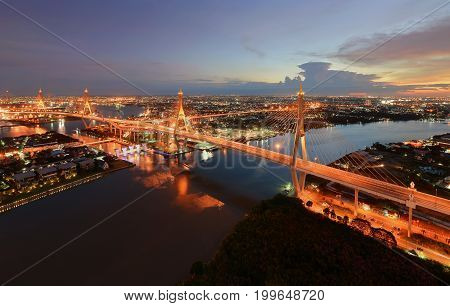 Bhumibol Bridge at sunset Bangkok City, Thailand