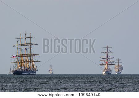 SAILING SHIPS - Kruzensztern, Dar Mlodziezy and Shabab Oman in the parade of sailing ships at sea