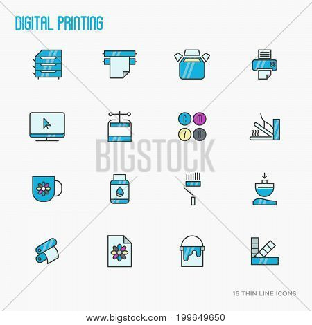 Digital printing thin line icons set. Vector illustration.