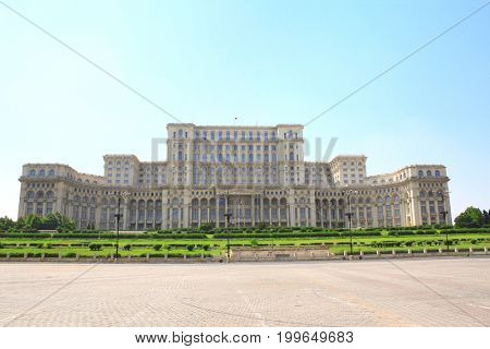 Parliament Palace (also known as The People's House, built during reign of Ceausescu), Bucharest, Romania. The Palace is the world's largest civilian administrative building (except for the Pentagon)