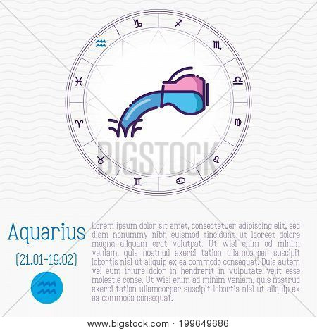 Aquarius in zodiac wheel, horoscope chart with place for text. Thin line vector illustration.